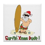 Surfing Christmas Tile Coaster