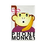 Phone Monkey Girl Rectangle Magnet