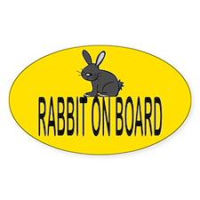 Rabbit on board Oval Bumper Stickers