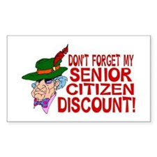 Senior Citizen Discount Rectangle Decal
