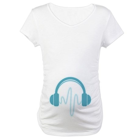 Blue Headphones Maternity Shirt