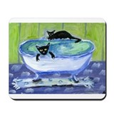 BLACK CAT bathtub Mousepad