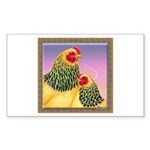 Buff Brahma Chickens Rectangle Sticker