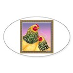 Buff Brahma Chickens Oval Sticker (10 pk)