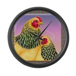 Buff Brahma Chickens Large Wall Clock
