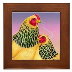 Buff Brahma Chickens Framed Tile