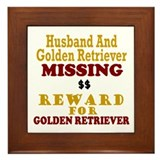 Husband & Golden Retriever Missing Framed Tile