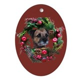 Border Terrier Warm Wishes Oval Ornament