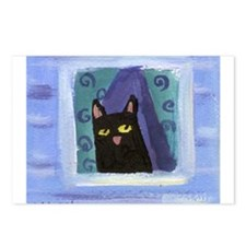 Black Cat Window Postcards (Package of 8)