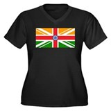 Anglo Indian Flag Women's Plus Size V-Neck Dark T-