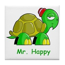 Mr. Happy cartoon turtle Tile Coaster