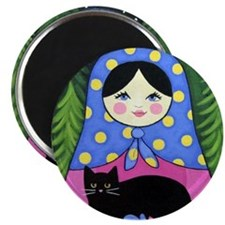 Matryoshka Babushka Girl Doll Cat Folk ART Magnet
