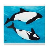 Commerson's Dolphin Tile Coaster