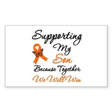 Orange Ribbon Butterfly Rectangle Sticker 10 pk)