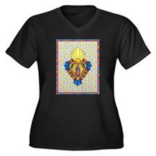 Stained Glass Virgin Women's Plus Size V-Neck Dark