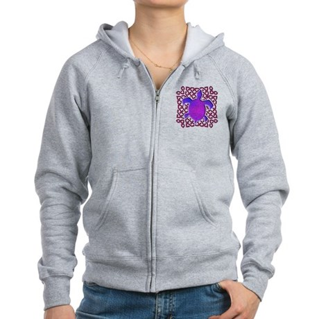 Celtic Knot Turtle (Purple) Women's Zip Hoodie