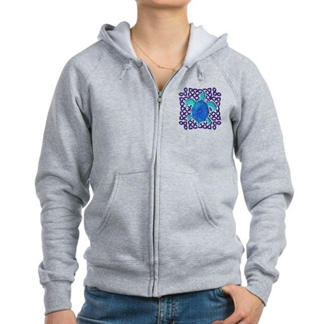 Celtic Knot Turtle (Blue) Women's Zip Hoodie