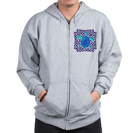 Celtic Knot Turtle (Blue) Zip Hoodie