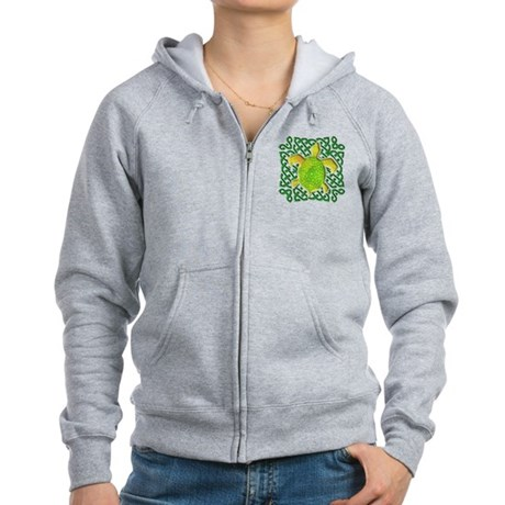 Celtic Knot Turtle (Green) Women's Zip Hoodie