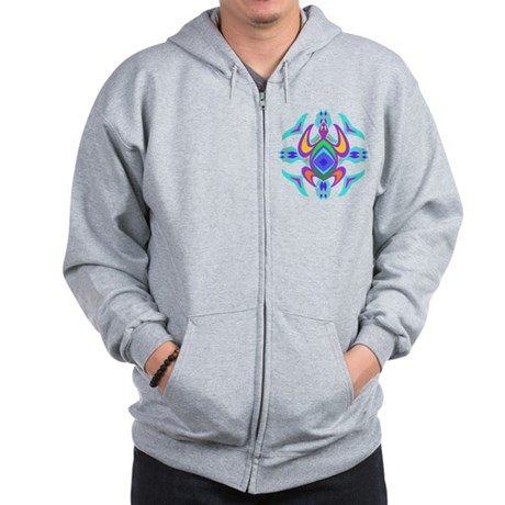 Turtle Symmetry Pattern Zip Hoodie