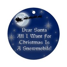 Santa Snowmobile Christmas Ornament (Round)