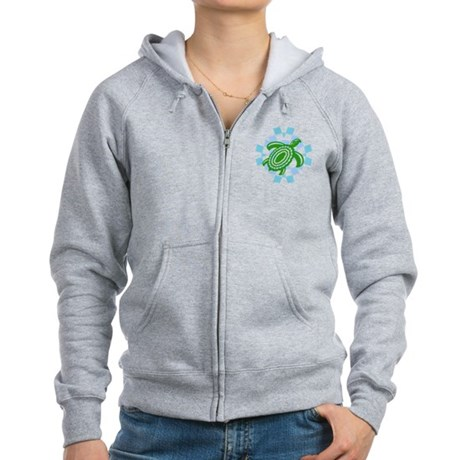 Green Cutout Turtle Women's Zip Hoodie