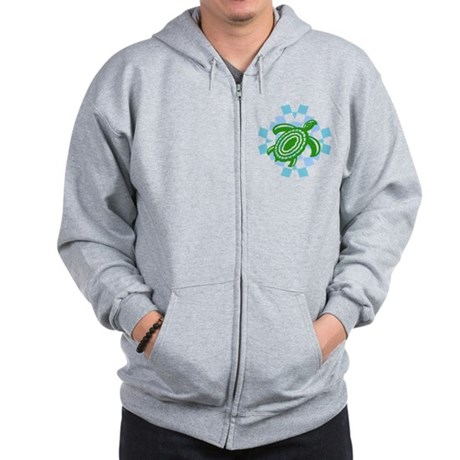 Green Cutout Turtle Zip Hoodie