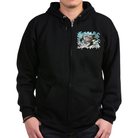 Swimming Sea Turtle Zip Hoodie (dark)