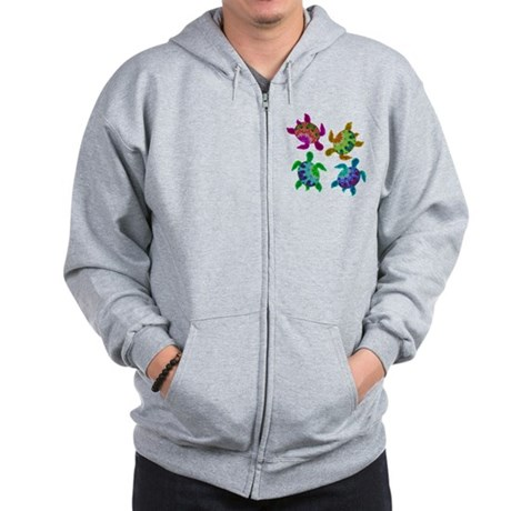 Multi Painted Turtles Zip Hoodie