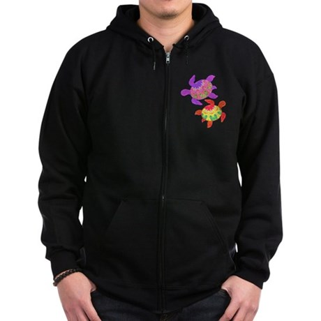 Painted Turtles Zip Hoodie (dark)