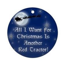 Another Red Tractor Christmas Ornament (Round)