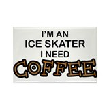 Ice Skater Need Coffee Rectangle Magnet
