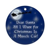 Santa Muscle Car Christmas Ornament (Round)