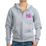 Pink Peace Women's Zip Hoodie