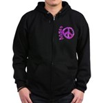 Pink Peace Zip Hoodie (dark)