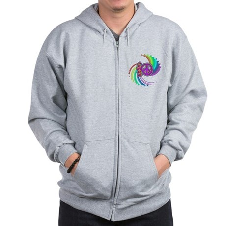 Rainbow Spin Peace Zip Hoodie