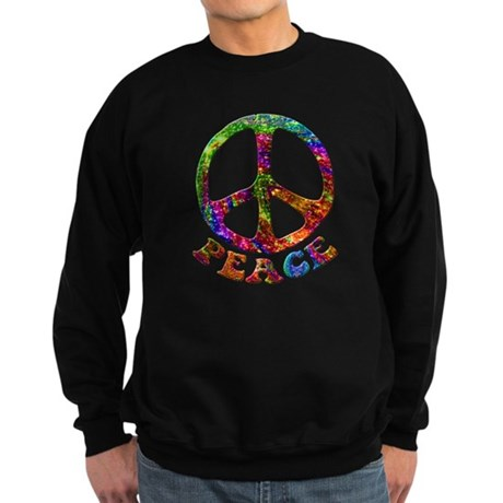 Jewelled Peace Symbol Sweatshirt (dark)