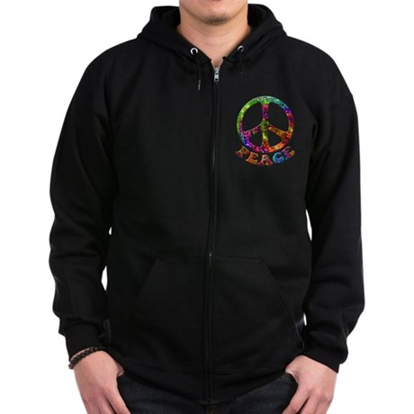 Jewelled Peace Symbol Zip Hoodie (dark)