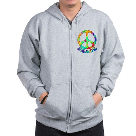 Rainbow Pool Peace Symbol Zip Hoodie