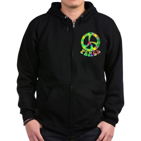Flower Child Peace Zip Hoodie (dark)