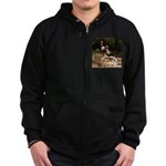 Two Turkeys on a Log Zip Hoodie (dark)