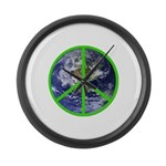 Earth Peace Symbol Large Wall Clock