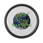 Stop Global Warming Large Wall Clock