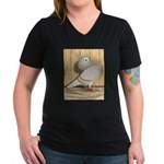 Khaki Mookee Pigeon Women's V-Neck Dark T-Shirt