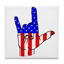 I Love USA Sign Language hand Tile Coaster