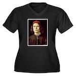 Young Man Women's Plus Size V-Neck Dark T-Shirt