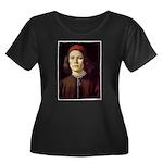Young Man Women's Plus Size Scoop Neck Dark T-Shir