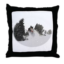 Flying Through Snow Throw Pillow
