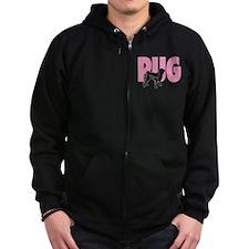 Black Pug/Pink Pug - Zip Hoodie