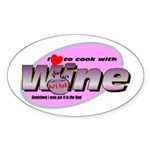 I Love Wine Oval Sticker (10 pk)
